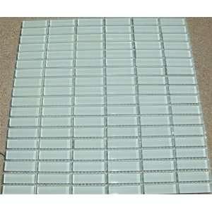 0.5 X 2 White Lt Green Tint Glass Mosaic Tile 1/2x2