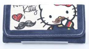 Loungefly Kawaii Blue Hello Kitty Mustache Canvas Wallet Punk Purse