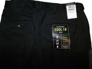 Haggar Performance Cool 18 Wear Expandable Waistband Dress Pants Black