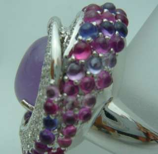 natural lavender jade diamond & natural multi i color sapphire white
