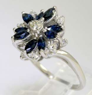 MARQUISE SAPPHIRE 14K WHITE GOLD MULTILEVEL FLORAL COCKTAIL RING