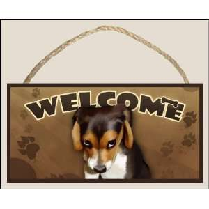 The Guilty Beagle (portrait view) Welcome Dog Sign