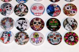 DIA LOS MUERTOS DAY OF DEAD SKULL BUTTONS PINS BADGES