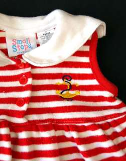 vtg baby girl 2 pc striped SAILOR OUTFIT top 6 9 month