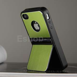 Green Aluminum TPU Hard Case Cover W/Chrome Stand+Free Pen&Film