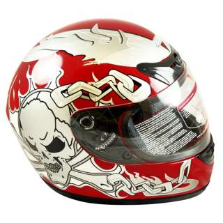 Motorcycle Full Face Sports Bike Helmet Red SKULL DOT Size L Large