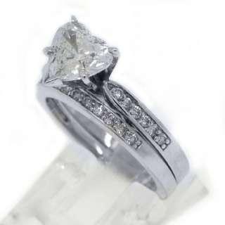 ENGAGEMENT RING WEDDING BAND BRIDAL SET HEART SHAPED WHITE GOLD