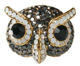 Swarovski Crystal Eyebrow Gold Owl RIng * HEMATITE*