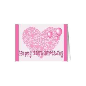 13th Birthday, Pink hearts, balloons & hearts Card Toys & Games