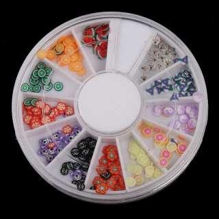120 PCS 3D Mix Fimo Nail Art Decoration Tips polymer clay slices Wheel