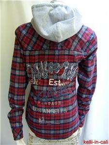 MISS ME PLAID FLANNEL Denim Fringe Patches Vintage Los Angeles RED