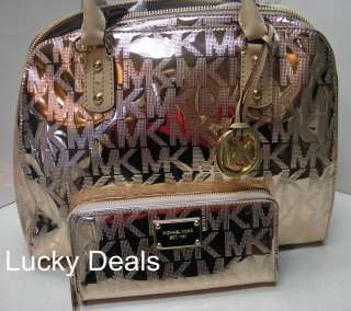 MICHAEL KORS Logo Mirror MONOGRAM MK SIGNATURE Satchel Handbag Bag PVC