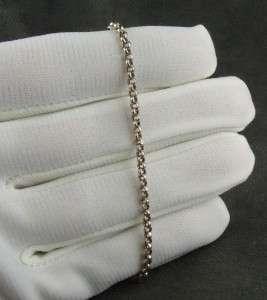 Vtg 14K White Gold Rolo Chain Bracelet or Anklet 2 Gr Lobster Claw 9
