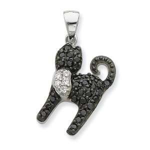 Sterling Silver Black & White CZ Cat Pendant Jewelry