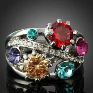 Size 9 Ladies Red Purple Blue Fuschia Rhinestone Topaz Rings Swarovski