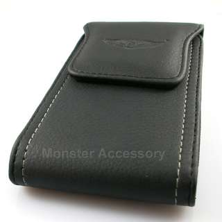Black Leather Vertical Pouch Belt Clip Case Holster for HTC Titan 4G