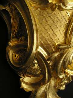 French Louis XV Gilt Bronze Wall Cartel Clock Japy Freres |