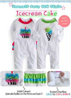 Baby Newborn Infant Girls Ruffle One Piece  Icecream Cake