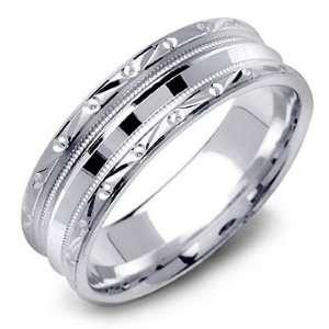 14K White Gold Diamond Cut Milgrain Fancy Wedding Band
