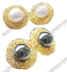Fashion Imitative White Black Pearl Gold Plated Ring