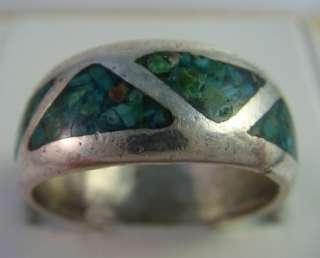 Old Vintage Navajo Native Indian Men Sterling Silver Ring Band Inlays