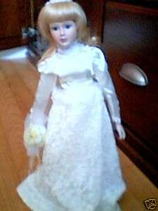 MARIAN YU DESIGN 1989 WEDDING DOLL W/DRESS, HEADPIECE+NEW IN BOX, FREE