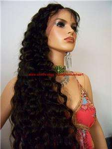 CUSTOM Full Lace Human Malaysian Hair Remi Remy Wig #1 Deep Wave 28