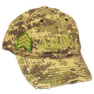 US ARMY SERGEANT RANK DISTRESSED DIGITAL CAMO CAP HAT