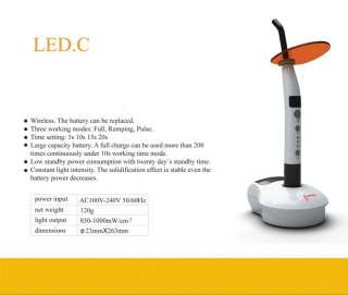 Woodpecker C WIRELESS DENTAL LED CURING LIGHT LAMP US