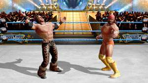 Macho Man Randy Savage and Morrison jawing in the center of the ring