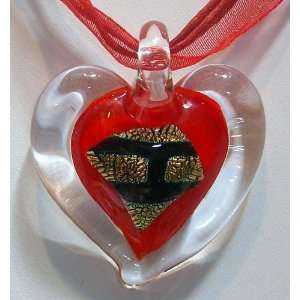 Murano Style Glass Pendant Necklace Heart Red (Center DesignBrick