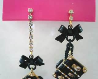 BETSEY JOHNSON MIAMI CHIC LUGGAGE DRESS BOW EARRINGS