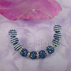 Pair Jewelry Earring Hoop Set Mix Resin Beads Crystal Rhinestone