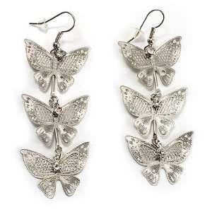 Silver Tone Crystal Butterfly Drop Earrings   7.5cm Drop