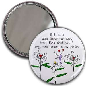 LOVE FLOWERS GARDEN Valentines Day 2.25 inch Glass Pocket