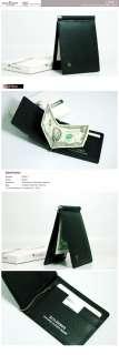 New Genuine Cow Leather Mens Bifold Money Clip Wallet Black LDM