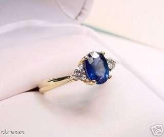 KASHMIR BLUE NATURAL SAPPHIRE & DIAMONDS 14K GOLD RING
