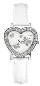 NEW GUESS HEART BUTTERFLY SWAROVSKI SS WHITE LEATHER STRAP LADY WATCH