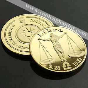 Libra Cookisland Zodiac Sign 24kt Gold plated Commemorative Coin 053