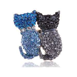 Kitty Cat Backside Couple Swarovski Rhinestone Blue Black