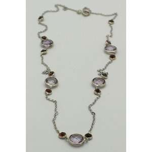 14K White Gold Necklace Pink Amethyst & Garnet Gemtones 18