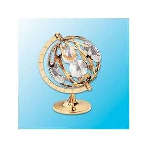 Spinning Globe Table Decor  With Clear Swarovski Austrian