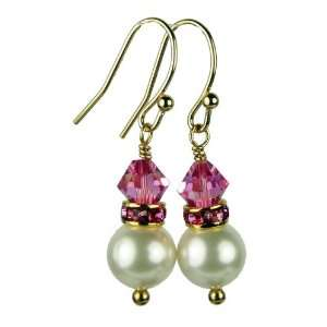 14K Gold FRESHWATER Pearl Earrings October Rose (Pink Tourmaline