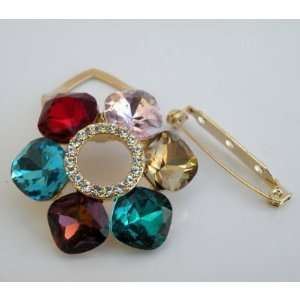 Assorted Colors Gorgeous Rainbow Clip On Scarf Ring Pin Brooch Gold
