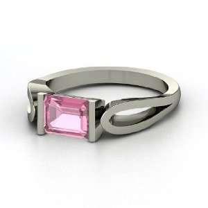 Loop de Loop Ring, Emerald Cut Pink Tourmaline Platinum