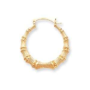 14k Polished Bamboo Hoop Earrings   JewelryWeb Jewelry