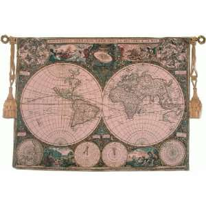 Tapestry Old World Map Fine Art Tapestry with Hanging Rod
