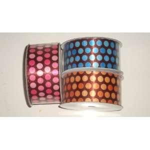 Printed Satin Ribbon   Large Polka Dots Arts, Crafts