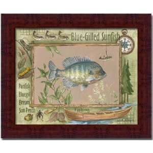 Blue Gilled Sunfish Fishing Cabin Decor Print Framed: Home