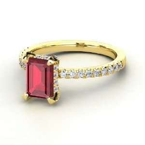 Reese Ring, Emerald Cut Ruby 14K Yellow Gold Ring with